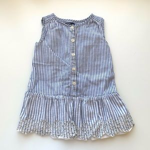 GAP Baby Embroidered Eyelet Blue Stripe Dress